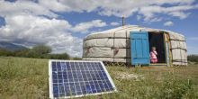 A family in Tarialan, Uvs Province, Mongolia, uses a solar panel to generate power for their ger, a traditional Mongolian tent (Photo: UN Photo/Eskinder Debebe, Creative Commons, via Flickr)