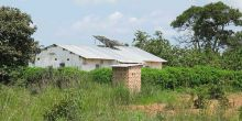 House in Zambia with solar panels on the roof.