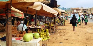 Stalls of fruits and vegetables.