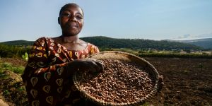 A Tanzanian woman farmer displays her crop. With commercial pressures on land increasing, women farmers in Africa need support to understand, and speak up for, fair land governance (Photo: Georgina Smith/CIAT, Creative Commons via Flickr)