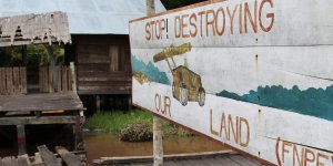 A sign protesting against development