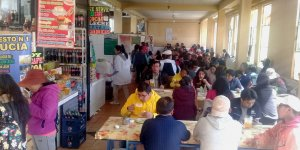 People eating at the market