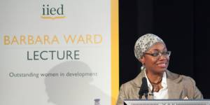 Fatima Denton delivers the 2014 Barbara Ward Lecture at the British Library in London in November 2014 (Photo: Julius Honnor/IIED)