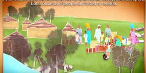 An excerpt from an animation on how sharing the revenue from large dams supports local development (Image: IIED/Hands Up)