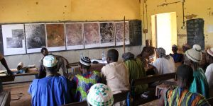 The University of Southampton made a series of large scale photos of the village ranging from 1952 to 2016. Toulmin met with villagers to discuss what the images might mean for the future (Photo: Camilla Toulmin/IIED)