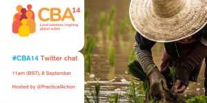 The CBA14 logo with a photograph of a person planting rice.