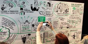 A popular feature of Development & Climate Days is the production of a giant illustration that highlights key points from the discussions over two days (Photo: Matt Wright/IIED)
