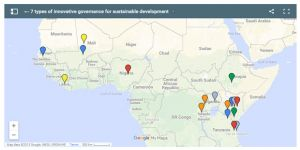 From decentralised finance to legal tools, this map showing real examples of innovative governance from around the world highlights seven tried-and-tested methods of empowering local institutions (Image: IIED)