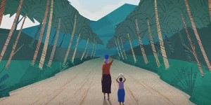 Animation of a woman and a child walking side by side