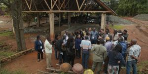 Participants at an action-dialogue in Tanzania in November 2017 learn about gold processing techniques at Nsangano gold mine (Photo: Steve Aanu/IIED)