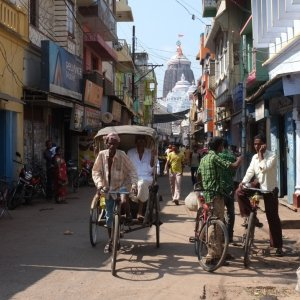 A street in the city of Puri in the state of Odisha