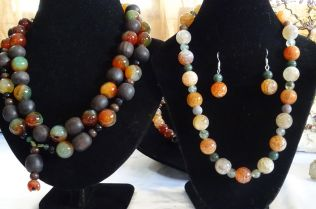 The finished jewellery shows off the natural beauty of the stones