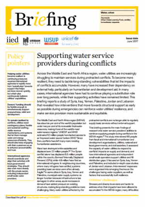 Supporting water service providers during conflicts