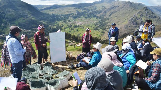 More than 100 representatives of indigenous mountain communities met in Peru's Potato Park in April 2017 to share their expertise and build their international network (Photo: Krystyna Swiderska/IIED)