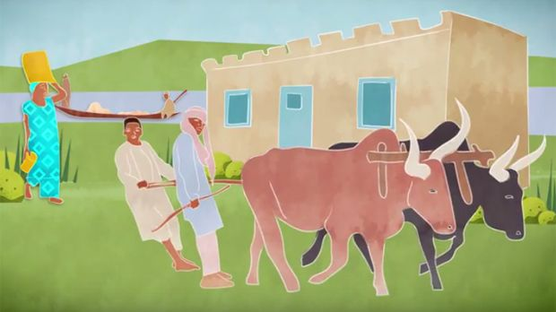 An image from new animation Securing the land rights of people affected by dams in West Africa (Image: Hands Up/IIED)
