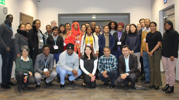 Junior negotiators and advisors under the ecbi programme gather during the workshop in Katowice (Photo: Matt Wright/IIED)