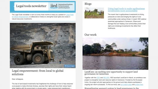 The legal tools newsletter is sent out every three months (Image: IIED)