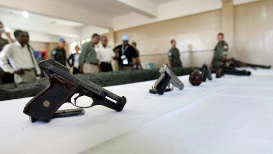 Guns handed in at the start of a disarmament, demobilisation and reintegration programme run by the United Nations Stabilisation Mission in Haiti (Photo: Sophia Paris/UN Photo, Creative Commons via Flickr)
