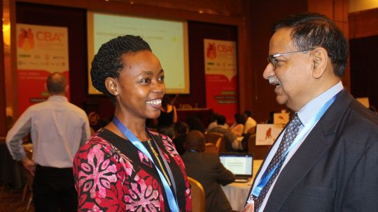 CBA13 networking: IIED senior fellow and director of the International Centre for Climate Change and Development (ICCCAD) Saleemul Huq in conversation with Susan Nanduddu, director of the Uganda-based African Centre for Trade and Development