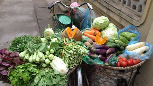 A food vendor's bike loaded with a wide variety of fresh vegetables