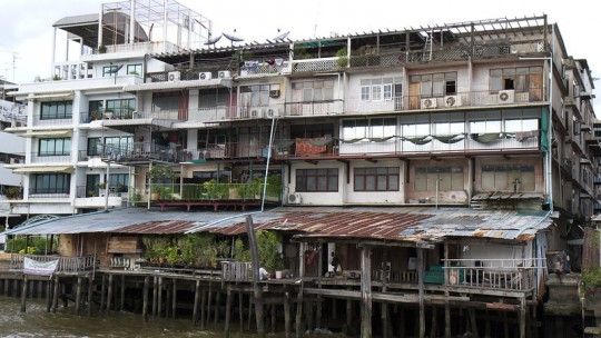 Informal housing by the river.