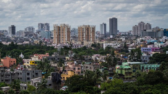 Skyline of Kolkata, India.