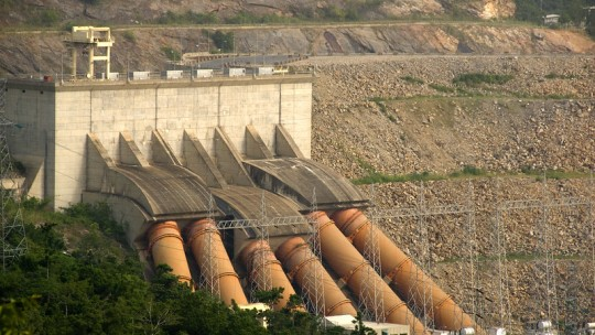 Aerial view of a hydropower plant