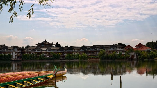 View of Kunming, China, of a lake and houses in the background