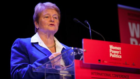 Gro Harlem Brundtland, deputy chair of The Elders and IIED's next Barbara Ward Lecture speaker, makes a speech at a conference in Oslo (Photo: Julie Lunde Lillesæter/PRIO, Creative Commons, via Flickr)