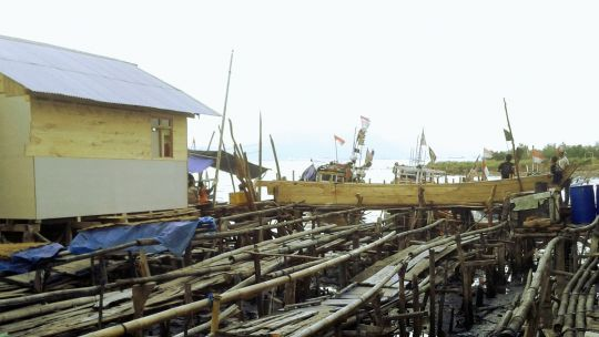 A fishing settlement in Bandar Lampung city, Indonesia
