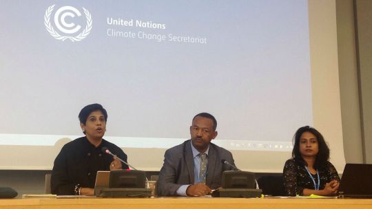 Nazhat Shameem Khan, Fiji's Permanent Representative to the United Nations and chief COP23 negotiator, addresses the LDC Group and chair  Gebru Jember Endalew. IIED principal researcher Achala Abeysinghe, who provides legal support to the LDC Group chair, is pictured right (Photo: Collin Beck)