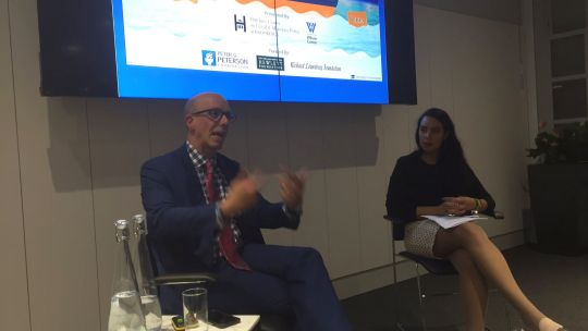 David Nassar, vice-president of communications at the Brookings Institution, addresses the WonkComms audience alongside event chair Nicole Valentinuzzi, director of communications at the Institute for Government (Photo: WonkComms)