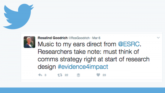 Rosalind Goodrich's tweet about developing communications strategies (Image: IIED)