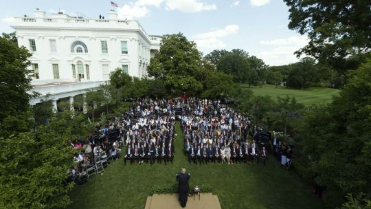 President Trump announced his decision to withdraw from the Paris Agreement in front of an audience of administration officials and supporters who had been gathered in the White House Rose Garden (Photo: Joyce N. Boghosian/The White House)