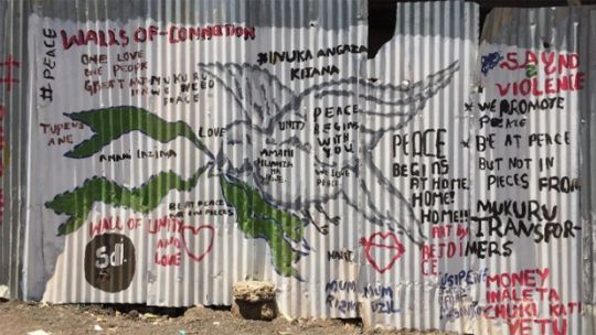 A 'peace wall' in Mukuru, one of the largest slums in Nairobi, Kenya (Photo: Urban ARK)