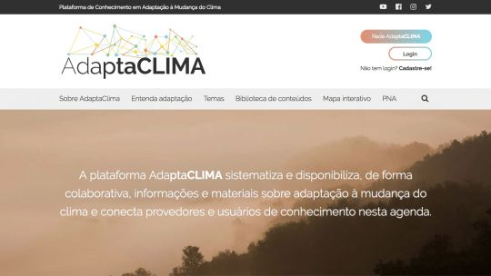 The home page of the AdaptaClima web platform