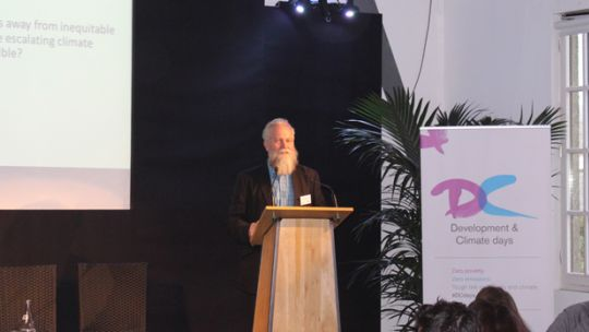 IIED senior fellow Simon Anderson speaks at the podium during D&C Days 2015 (Photo: Matt Wright/IIED)