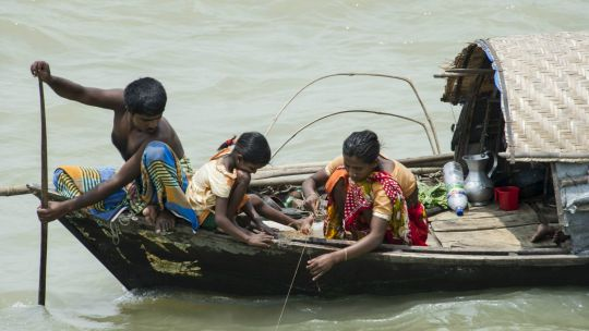 A family fishes in Chandpur, Bangladesh