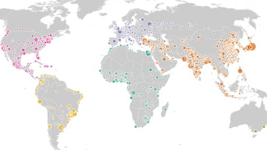 World map showing the location of cities with a population of over 500,000 people