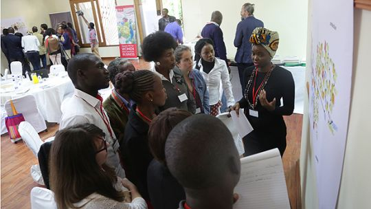 Mwandwe Chileshe of CSO-SUN Alliance discusses the food system map with meeting participants (Photo: Salimu Dawood)