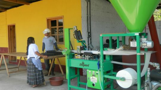 Cooperative members at the Federation of Cooperatives of the Verapaces nursery in Cobán, Guatemala operate a compost packing machine. FEDECOVERA oversees the production of cardamom, allspice, coffee, tea, cocoa, essential oils, grains and vegetables (Photo: Juan José Ochaeta/FEDECOVERA)