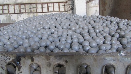 A heap of steel balls in a lorry