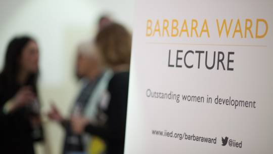 The Barbara Ward Lecture signage at the British Library for the 2014 event (Photo: Julius Honnor/IIED)