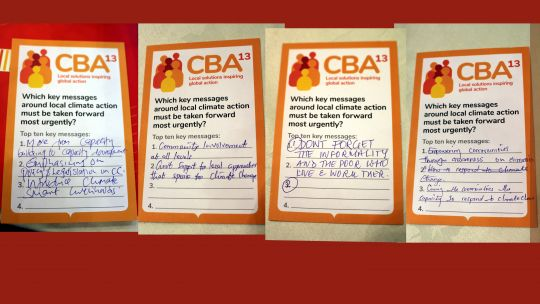 Postcards with key messages from the CBA community (Photo: IIED)