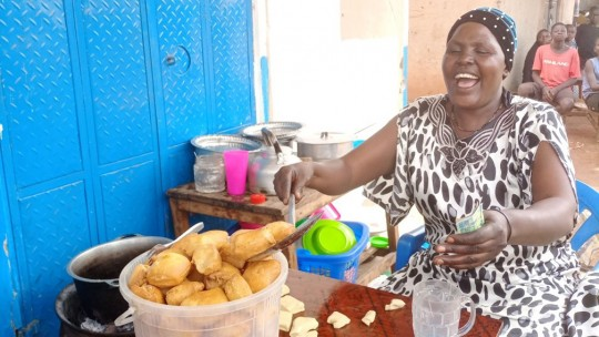 Woman cooks pastries