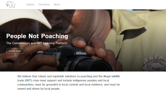 Screengrab of the homepage of the People Not Poaching website