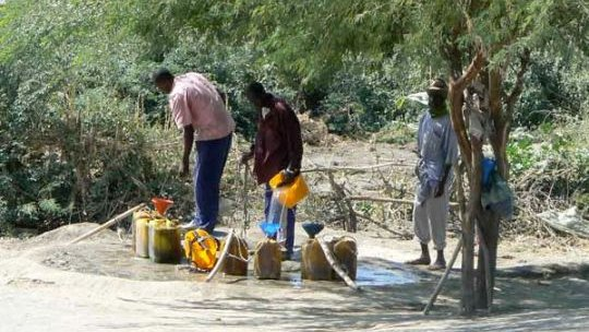Men filling plastic containers with water. Niger.