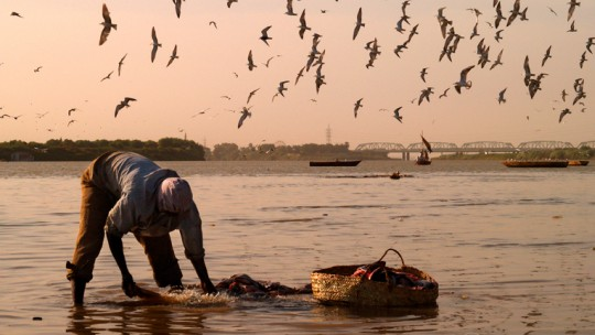 A fisherman standing in shallow water bends over to tend his nets, alongside a basket