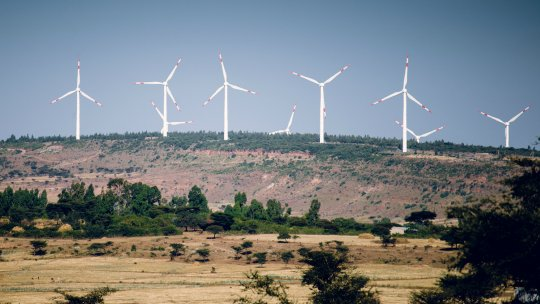 Wind turbines on the top of a hill