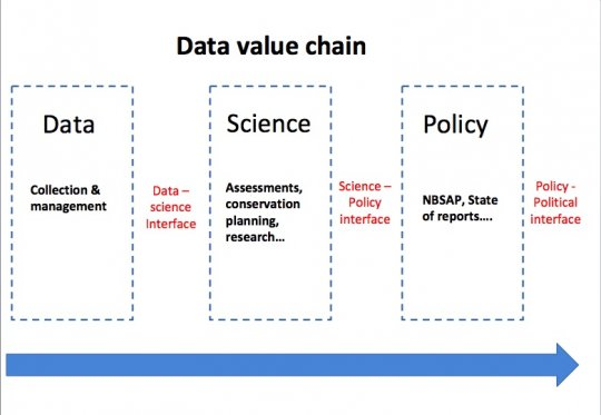 A presentation slide showing the data value chain
